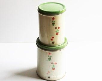 Vintage Empeco canisters, 2 tin canisters, cottage décor, farmhouse décor