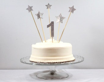 Number Cake Topper with Stars
