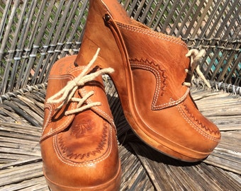 1970s Lace-Up Leather & Wood Clogs