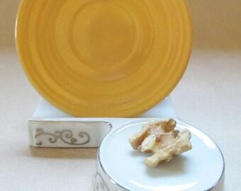 """Hazel Atlas Moderntone """"Little Hostess Party Dishes""""; Sierra Gold Cup Saucer"""