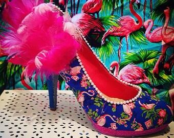Flamin-Go-Go Girl handmade flamingo shoes