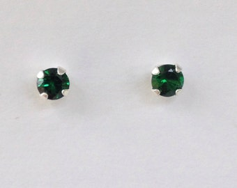 May birthstone earrings, emerald solitaire earrings, 1/2 ct t.w. emerald stud earrings, green stud earrings, sterling silver emerald studs