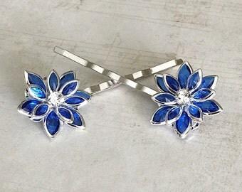 Blue Hair Pins, Blue Hair Clips, Blue Bobby Pins, Blue Flower Bobby Pins, Blue Hair Barrettes, Blue Bobby Pins, Flower Hair Pins