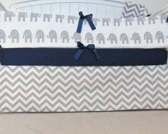 FULLY LINED Crib Skirt - Chevron, gray and white chevron, zig zag