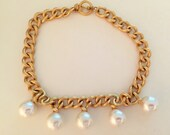 Vintage Anne Klein Choker Pearl Tassel Necklace , Designer Necklace Big Bold and Beautiful
