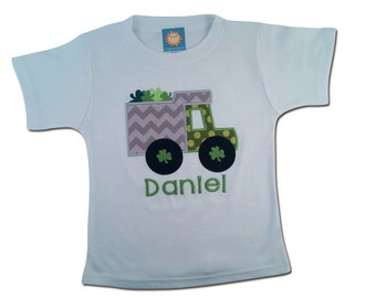 Boy's White St Patrick's Day Shirt with Shamrock Truck and Name