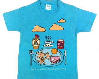 Starfish and Coffee Turquoise or Pink Kids T-Shirt