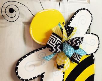 Spring/Summer Bumble Bee Hand Painted Wood Door Hanger