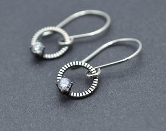 Circle Earrings, Silver Dangle Earrings, Sterling Silver Earrings, Oxidised Earrings, Tiny Circle Earrings