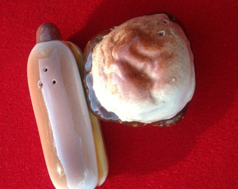Vintage Hamburger and Hot Dog Salt and pepper shakers