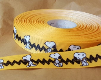 Snoopy printed grosgrain ribbon for hair bows, scrapbooking, other crafts - sold in lengths of 1, 3, or 5 yards - M1612