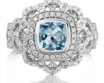 Aquamarine Engagement Ring 1.20ct Aquamarine .76ct Diamond Ring Unique Wedding Ring Art Deco Style Anniversary Ring Pristine Custom Rings