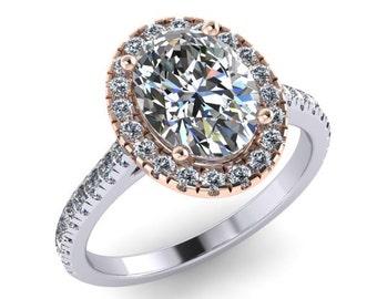 Oval Forever One Moissanite Engagement Ring 18kt Rose & White Gold Ring 5mm Moissanite and .40ct Diamonds Anniversary Pristine Custom Ring
