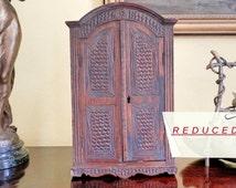 RARE Vintage Miniature Armoire. Hand Carved Furniture. Antique French Furniture. Salesman's Sample. 1800's. Dolls house Furniture. Folk Art