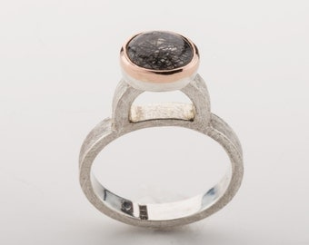 High ring with rutile quartz pink gold touch