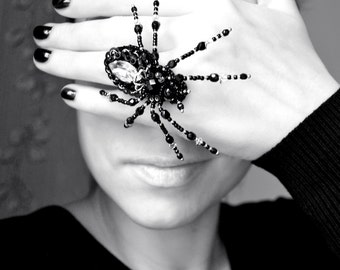 Big Spider ring Statement Spider jewelry Black Silver crystal Gothic ring adjustable Spider Witchcraft Bead embroidered Unique gift for her