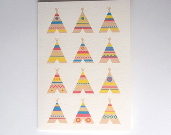 I see a tee pee 2: Gift Card / Free shipping in Australia / Tee pees / Card for kids / New born babies /