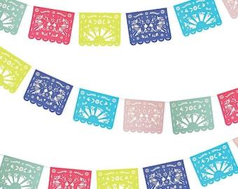 Fiesta Party Garland, Meri Meri Fiesta Banner, Mexican Folk Art Wedding Decor, Cinco de Mayo Paper Banner, Dia de los Muertos Decorations