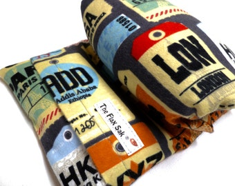 """FLAX HEATING PAD -  Microwavable""""The Flax SaK"""" - hot cold pack - airport code,  Flannel washable cover -  Flax seed Bag - 100 % Flax seeds"""