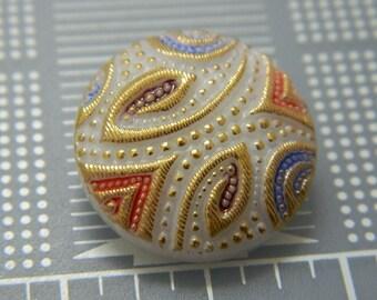 23MM Vintage Decorative Czech Glass Button - Boho Czech Buttons - Hand Painted Glass Shank Button - Glass Designer Buttons