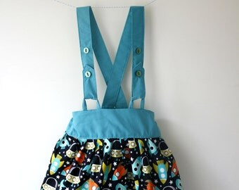Space skirt, rocket skirt, space print, space gift, space clothes, rocket print, rocket gift, rocket clothes, braces skirt, skirt with strap