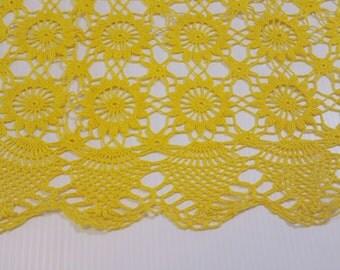 Large Vintage Crocheted Yellow Doily, Banana Yellow Doily, Vintage crocheted Table Runner, Small Vintage Yellow Tablecloth or Table Runner