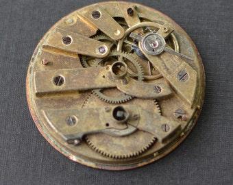 Vintage Keywind Pocket Watch Movement - 35mm Size 7 - Gold Tone - Parts - Repair - Steampunk Jewelry Making Supplies