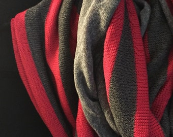 Red and gray striped infinity scarf