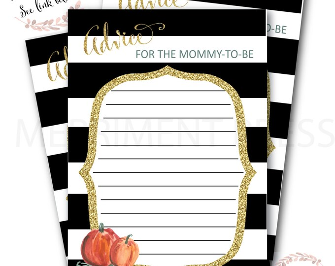 Advice Card // Pumpkin // Watercolor // Advice for the Mom to Be // Black Stripes // Gold Glitter // Instant Download// NANTUCKET COLLECTION