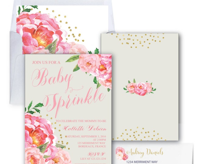 Baby Sprinkle Invitation // Grey // Gray // Peonies // Peony// Baby Sprinkle Invite // Pink // Gold Glitter // BORDEAUX COLLECTION