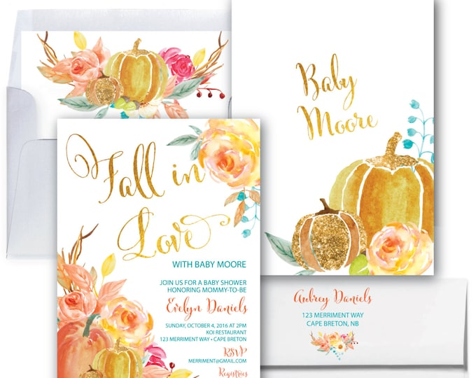 Fall in Love Baby Shower Invitation // Pumpkin // Sip and See // Floral // Fall Baby Shower // Gold // Watercolor // CAPE BRETON COLLECTION