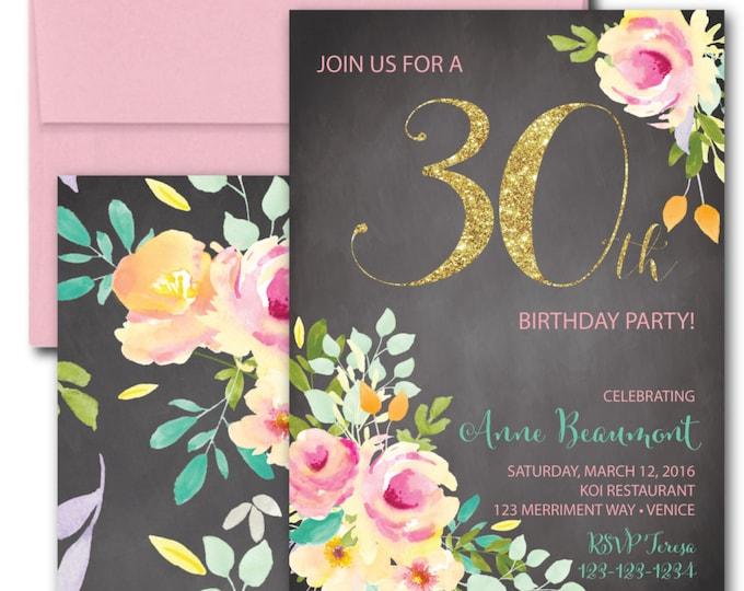 30th Birthday Invitation // Chalkboard // Thirty // Birthday//Roses//Peonies // Peony // Pink // Gold Glitter // Yellow // VENICE COLLECTION