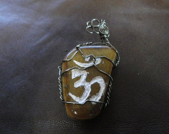 Tiger Eye Om Necklace