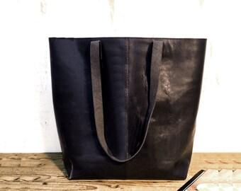 Sale!!! Black Leather Tote - Sturdy Leather Bag, Handmade shopper leather tote bag
