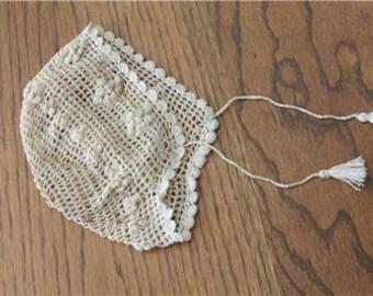Hand Crocheted Baby Bonnet-Christening Cap-Off White Baby's Bonnet