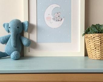 Blue - Baby Elephant on Moon Nusery Wall Art