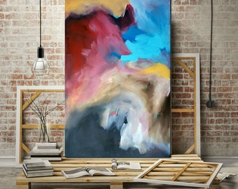 """LARGE ABSTRACT Painting FREE Shipping, Original Wall Art, Size 60""""+, Painting On Canvas, Ready To Hang Art, Landscape, Blue Red White Yellow"""