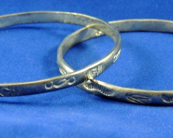 Two Vintage Taxco Sterling Silver Bangles 2 3/4 Inch Diameter