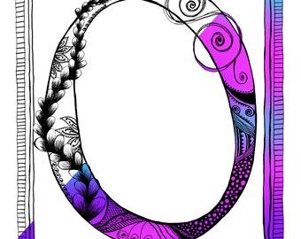Doodle Coloring Page, Letter O, Alphabet Letter, Zen Doodle Art, Doodle Page, Instant Digital Download, Art Printable illustrations