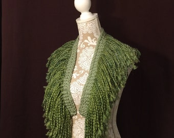 Fringed Knit Scarf in Green