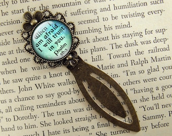Psalm 56:3, Bookmark, Bible Verse, When I Am Afraid, I Will Trust In You, Bronze Bookmark, Book Lover, Book Accessories, Clip, Blue