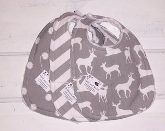 Sweet Grey Deer Baby Bib Set !  FREE SHIPPING !!!!