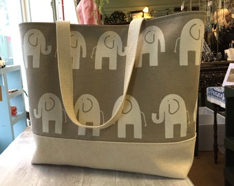 Elephant tote: large with brown interior