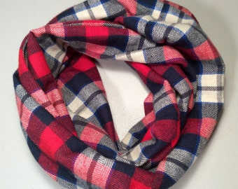 Childs Infinity Scarf Plaid Flannel, Girls Scarf, Boys Scarf, Kid Size, Christmas Gift, Winter Scarf, Holiday Scarf