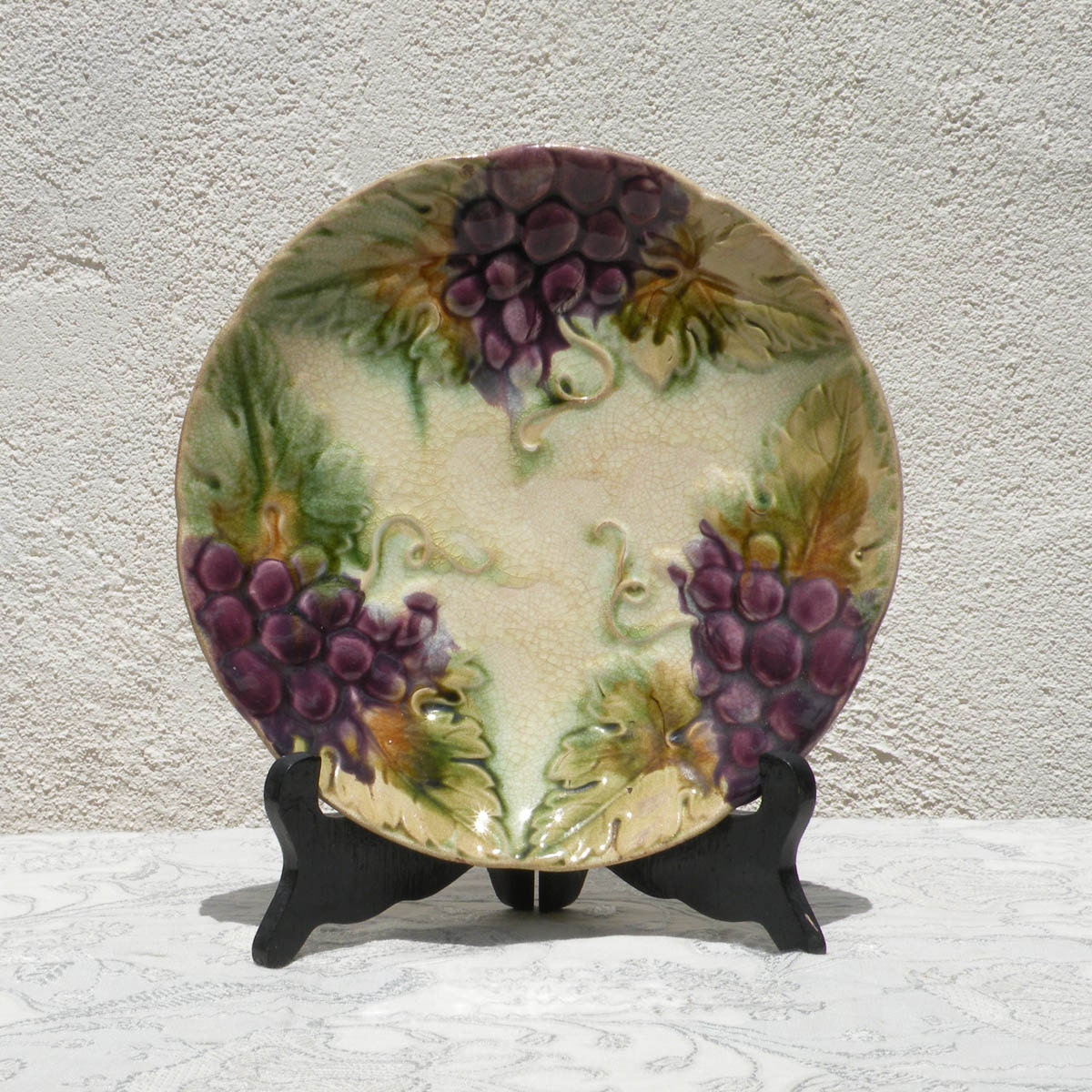 French Antique Majolica Wall Plate Glazed Vintage Wall Plate