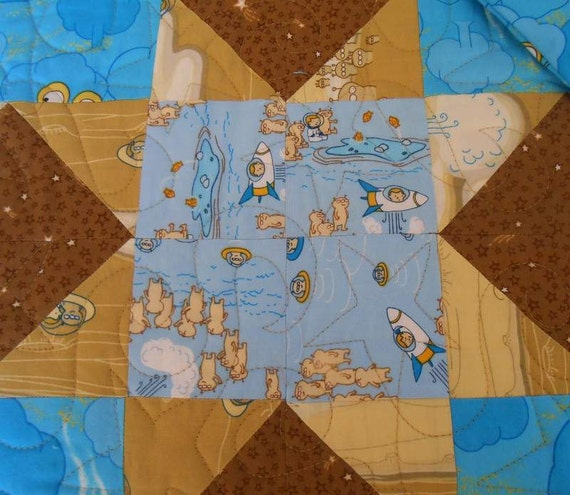 Toddler Boys Quilt With Matching Pillow Case, Marty Goes To Mars Outer Space Fabric