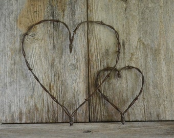 """Rustic Valentine Heart, French Country Barbed wire heart, Barb wire, Country Charm meets Shabby Chic, A Piece of the """"Old West!"""""""