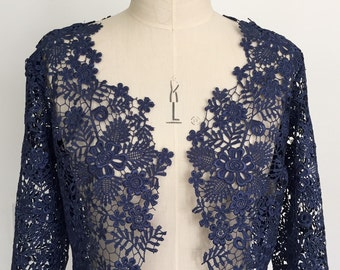 Blue guipure lace shrug, wedding/occasion jacket