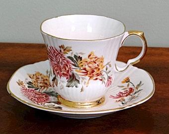 Royal Adderley Chrysanthemum Tea Cup and Saucer English Bone China