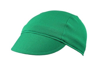 Green moisture wicking cycling cap - handmade cap; moisture wicking cap; bicycle cap; polyester cap; bike wear; cycling clothes